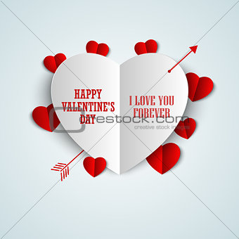 Valentine card with folded paper hearts
