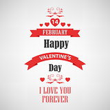 Valentine retro poster with red ribbons template