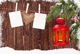 Christmas candle lantern and photo frames