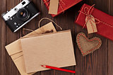 Valentines day toy heart, camera, gifts and notepad