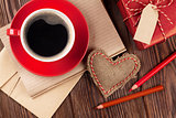 Valentines day toy heart, coffee cup and gift box