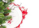 Christmas table setting with fir tree
