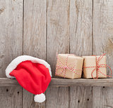 Christmas gift boxes and santa hat