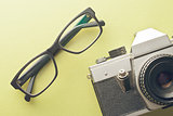 vintage camera and glasses