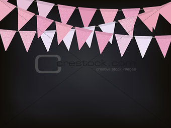 Background with pink flag garlands for Valentines day