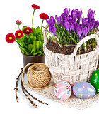 Easter eggs with spring flowers in basket