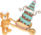 Teddy bear carrying birthday cake