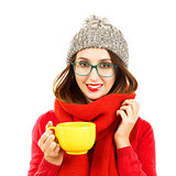 Cute Hipster Girl in Winter Clothes with Cup