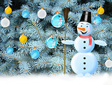 snowman snow and New Year tree