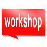 Workshop word on red speech bubble