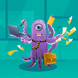 Cartoon Octopus Moster as a Boss