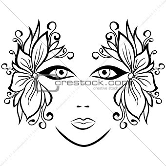 Abstract female face with floral accessories
