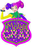 Lady & Mardi Gras Sign