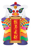 Chinese Lion Dance with Year of Monkey Calligraphy Scroll Illust