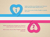 Valentine's day background with pink and blue heart ribbon