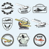 Set of vintage retro aeronautics flight badges