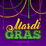 Mardi Gras Party Poster.Calligraphy and Typography Card. Beads Tassels and Fleur De Lis Symbol. Holiday poster or placard template