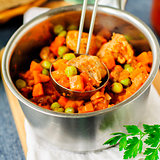 Pork Ragout with Carrots and Green Peas