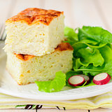 Zucchini Rice Slice with Green Leaf Salad