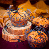 Halloween Pumpkin Muffins Decorated with Spiders and Spider Web