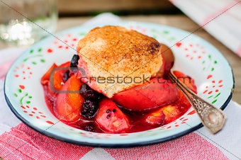 A Portion of Peach and Black Raspberry Cobbler