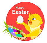 Happy easter. Yellow chicken and easter eggs