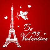 Eiffel Tower and cupid