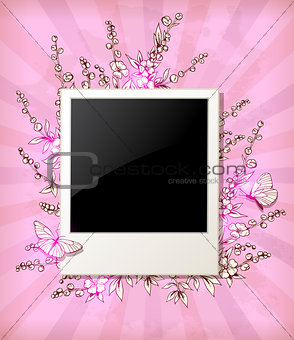 Background with flowers and photo