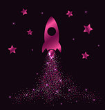 Pink rocket in space