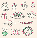 Hand drawn Valentine elements