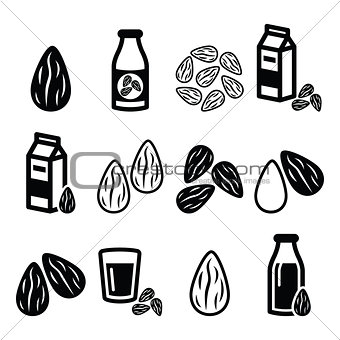 Almonds, almond milk vector icons set