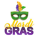 Mardi Gras Party Mask Poster.Calligraphy and Typography Card. Lights, Feathers. Holiday  or placard template