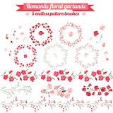 Set with detailed contour wreathes with roses and wild flowers isolated on white. Seamless horizontal pattern brushes. Round frames for your design, bridal greeting cards, wedding announcements.