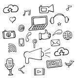 Set social network signs and symbols