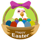 Hen holding basket with Easter eggs. Happy Easter