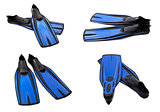Set of blue swim fins for diving