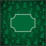 Christmas firs background and square frame
