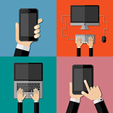 Gadgets. Set of flat icons