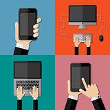 Gadgets. Set of flat icons
