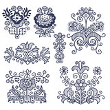 Floral folkloric elements isolated
