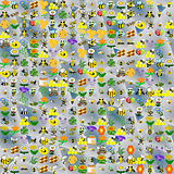 Bee funny cartoonish abstract pattern.