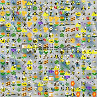 Bee funny cartoonish abstract pattern.