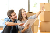 Couple planning decoration when moving home