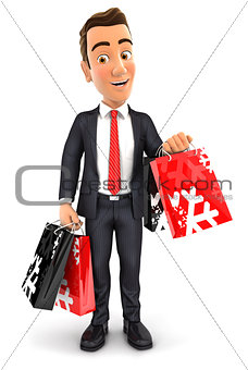 3d businessman carrying shopping bags