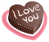 Chocolate cake shape of heart. I love you. Chocolate Sponge Cake