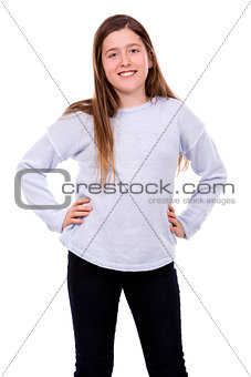 caucasian girl on white background