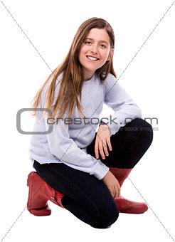 caucasian girl on white background