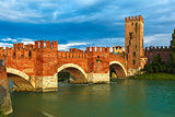 Castelvecchio at sunset in Verona, Italy.