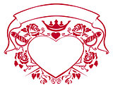 Emblem of love - shape heart, dagger, crown, ribbon and roses