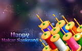 Makar Sankranti wallpaper with colorful kite string spool